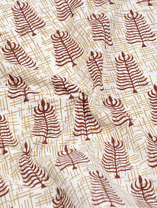 Ivory-Madder Natural-Dyed Bagh-printed Cotton Fabric