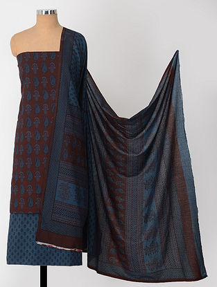 Madder-Blue Natural-Dyed Bagh-printed Cotton Suit Fabric (Set of 3)