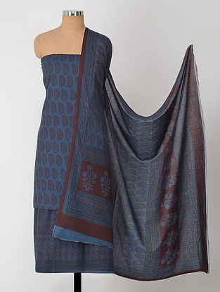 Blue-Madder Natural-Dyed Bagh-printed Cotton Suit Fabric (Set of 3)
