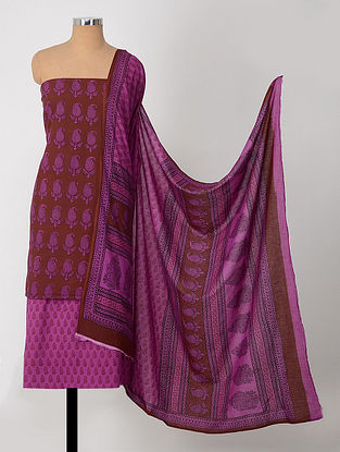 Madder-Purple Natural-Dyed Bagh-printed Cotton Suit Fabric (Set of 3)