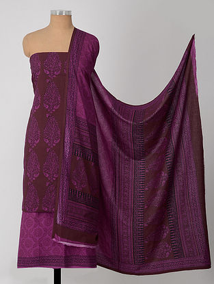 Purple-Madder Natural-Dyed Bagh-printed Cotton Suit Fabric (Set of 3)