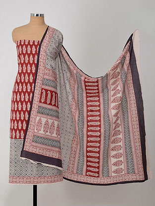 Madder-Ivory Natural-Dyed Bagh-printed Cotton Suit Fabric (Set of 3)
