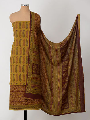 Ochre-Madder Natural-Dyed Bagh-printed Cotton Suit Fabric (Set of 3)