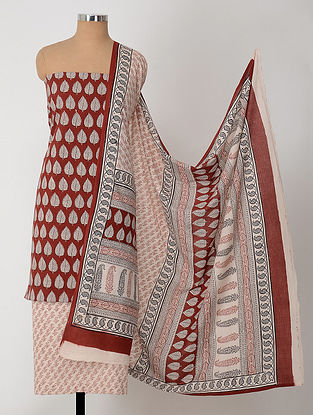Ivory-Madder Natural-Dyed Bagh-printed Cotton Suit Fabric (Set of 3)