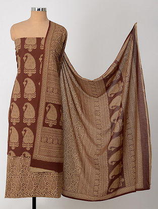 Beige-Maroon Natural-Dyed Bagh-printed Cotton Suit Fabric (Set of 3)