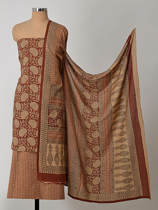 Beige-Madder Natural-Dyed Bagh-printed Cotton Suit Fabric (Set of 3)