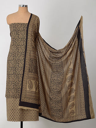 Beige-Black Natural-Dyed Bagh-printed Cotton Suit Fabric (Set of 3)