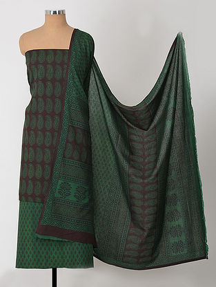 Maroon-Green Natural-Dyed Bagh-printed Cotton Suit Fabric (Set of 3)