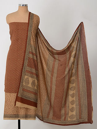 Madder-Beige Natural-Dyed Bagh-printed Cotton Suit Fabric (Set of 3)
