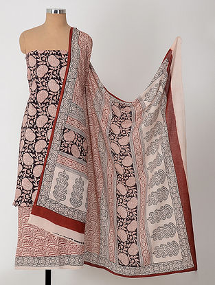 Ivory-Black Natural-Dyed Bagh-printed Cotton Suit Fabric (Set of 3)