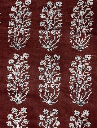 Madder-Ivory Natural-Dyed Bagh-printed Cotton Mashru Fabric