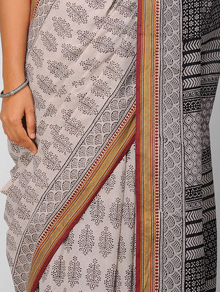 Ivory-Black Bagh-printed Cotton Saree with Zari Border
