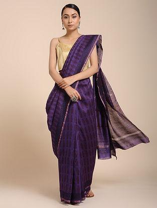 Purple-Red Bagh-printed Cotton Silk Saree with Zari