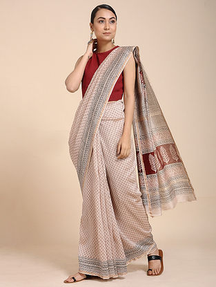 Ivory-Red Bagh-printed Cotton Silk Saree