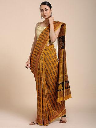 Yellow-Black Bagh-printed Cotton Silk Saree with Zari