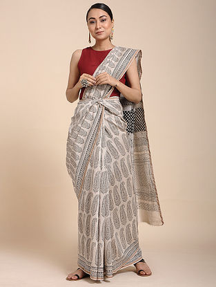 Ivory-Black Bagh-printed Cotton Silk Saree with Zari