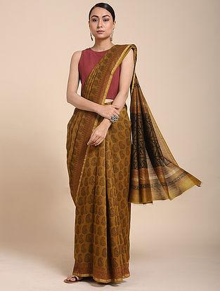 Beige-Black Bagh-printed Cotton Silk Saree with Zari