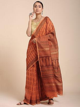 Red-Black Bagh-printed Cotton Silk Saree with Zari
