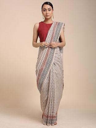 Ivory-Black Bagh-printed Cotton Silk Saree