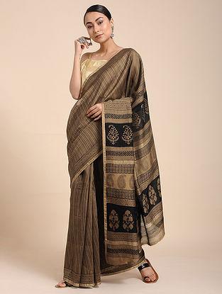Beige-Black Bagh-printed Cotton Silk Saree