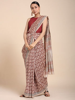Red-Ivory Bagh-printed Cotton Silk Saree with Zari