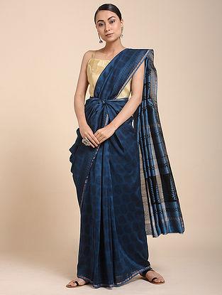 Blue-Black Bagh-printed Cotton Silk Saree