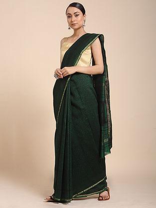 Green-Black Bagh-printed Cotton Silk Saree with Zari