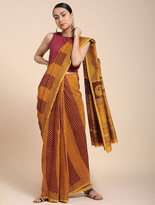 Red-Yellow Bagh-printed Cotton Silk Saree