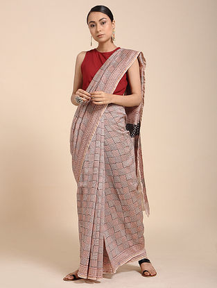 Red-Ivory Bagh-printed Cotton Silk Saree