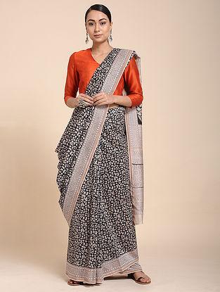 Black-Ivory Bagh-printed Cotton Silk Saree with Zari