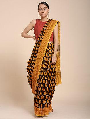 Black-Yellow Bagh-printed Cotton Silk Saree