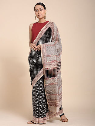 Black-Ivory Bagh-printed Cotton Silk Saree