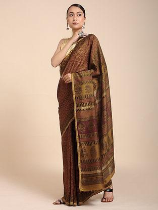 Maroon-Beige Bagh-printed Cotton Silk Saree