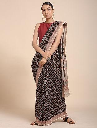 Black-Beige Bagh-printed Cotton Silk Saree