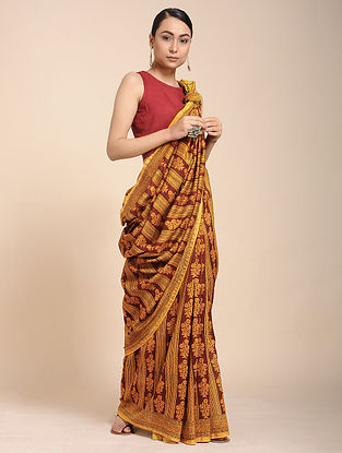 Yellow-Red Bagh-printed Cotton Silk Saree