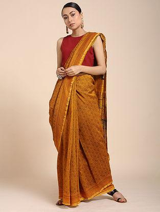 Yellow-Red Bagh-printed Cotton Silk Saree with Zari