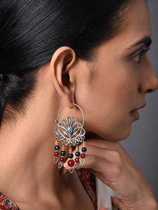 Multicolored Vintage Afghan Silver Hoop Earrings