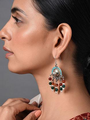Multicolored Enameled Vintage Afghan Silver Earrings