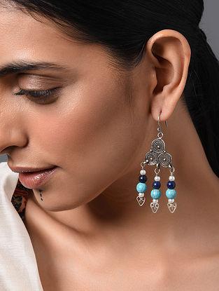 Blue Vintage Afghan Silver Earrings