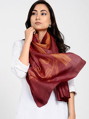 Red Shibori-dyed Tussar Silk Stole