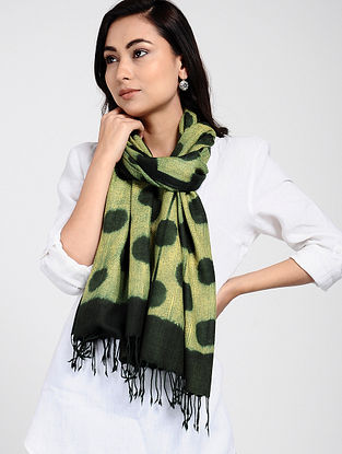 Green-Yellow Shibori-dyed Wool Stole