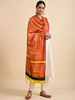 Orange-Yellow Shibori Dyed Tussar Silk Dupatta