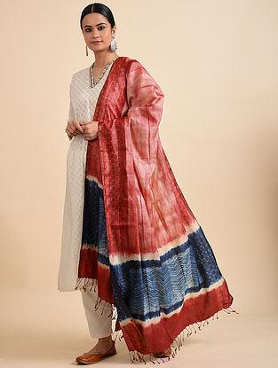Red-Blue Shibori Dyed Tussar Silk Dupatta