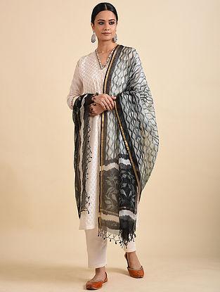 Black-Grey Shibori Dyed Kota Silk Dupatta