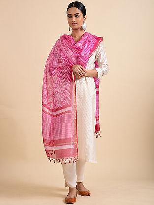 Pink Shibori Dyed Kota Silk Dupatta