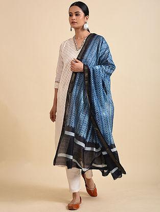 Blue-Black Shibori Dyed Maheshwari Dupatta