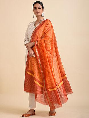 Orange Shibori Dyed Maheshwari Dupatta