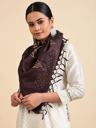 Brown-Beige Shibori Dyed Tussar Silk Stole