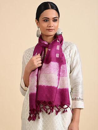 Magenta-Ivory Shibori Dyed Tussar Silk Stole