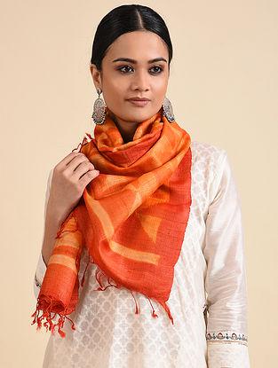 Orange Shibori Dyed Tussar Silk Stole